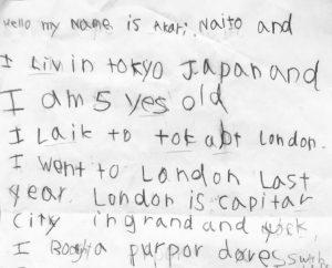 英語スピーチ原稿、5才児自筆